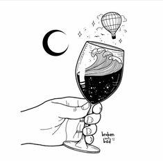 Spilled Wine Drawing - Wine Art Watercolor - Instapot Mulled Wine - Wine Girl And Boy Kunst Inspo, Art Inspo, Blackwork, Drawing Sketches, Art Drawings, Wow Art, White Art, Oeuvre D'art, Amazing Art