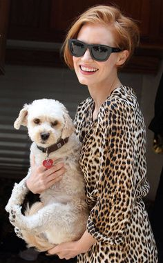 Jessica Chastain from Celebrity Pets: Miley Cyrus' Puppy, Taylor Swift's Cat & More  The Helpstar invitesher three-legged rescue pup, Chaplin, to join her on the set of her new filmThe Disappearance of Eleanor Rigby.