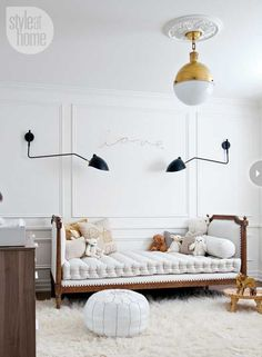Designed by Christine Dovey. Black Rooster Decor Items: Mid Century Flex Arm Wall Light and Grey Wash Daybed.