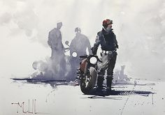 Ton Up Boys by Daniel Marshall Watercolor ~ 15 x 21