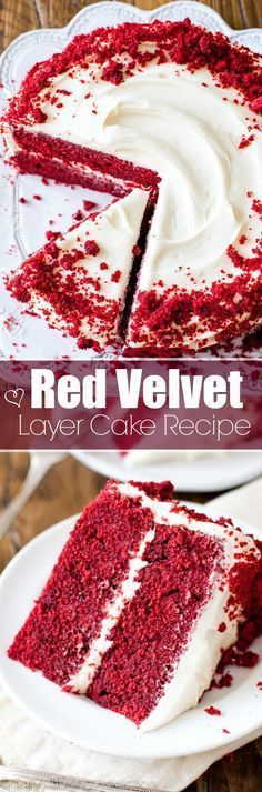 Red Velvet Layer Cake with Cream Cheese Frosting - I tested a TON of ways to make classic, sweet, fluffy, soft, moist red velvet cake and this recipe wins by a landslide! Just Desserts, Delicious Desserts, Dessert Recipes, Delicious Cupcakes, Layer Cake Recipes, Sallys Baking Addiction, Cake With Cream Cheese, Cookies, Let Them Eat Cake