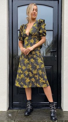 Maggie Black Floral Printed Midi Dress