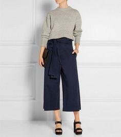 Love these wide-leg pants! Tibi Barrett Cropped Cotton-Blend Twill Wide-Leg Pants