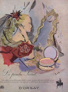 """""""Secret"""" by D'Orsay,1945.                   lllustrator : Andre' Delfau"""