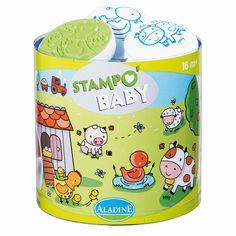 """""""Stampo Baby Bauernhof""""  Mit Stampo Baby können die Kleinen ab 18 Monaten ihren Spaß daran entdecken, ihre ersten Motive mit den großen ergonomischen Stempeln abzubilden. Inhalt: ein Maxi-Stempelkissen mit abwaschbarer Tinte und 5 große Stempel für kleine Babyhände.      ab 18 Monaten     abwaschbare Stempelfarbe"""