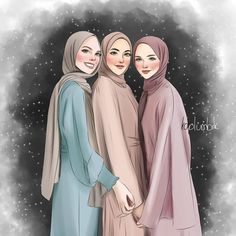 Cartoon Girl Drawing, Girl Cartoon, Cartoon Art, Girly M, Friend Cartoon, Friend Anime, Hijabi Girl, Girl Hijab, Hijab Drawing