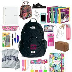 What&Apos;S in my backpack college supplies okul, ajandalar, kıya Middle School Supplies, School Kit, Back To School Supplies, School Bags, College Supplies, School Stuff, School Ideas, Backpack Essentials, School Essentials