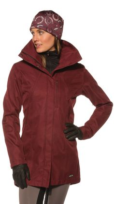 Weather-Proof Barn Jacket 40605 $159.00            Feel pretty when the weather's not. Designed with slimming equestrian lines, this sturdy outer layer provides elegant armor against Mother Nature. Engineered for tossing hay or tossing wintertime woes to the wind with a soul-cleansing canter. Split back gussets with clever magnets that close with a click, and pit and cuff zips free you to focus on your horse, not the weather.        www.spokanetacktrunk.com