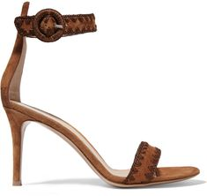 Gianvito Rossi Embroidered Suede Sandals on ShopStyle