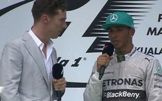 Lewis Hamilton quizzed by Sherlock actor Benedict Cumberbatch on podium after Malaysian GP win - Telegraph interview