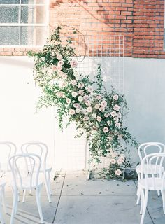 Unique wedding ceremony installation. Modern, romantic + timeless. @organicflora @dearloversphoto @crowned.events
