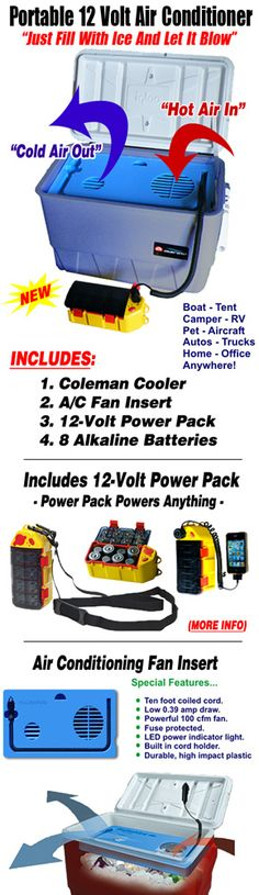 Portable battery operated cooler air conditioner for tent or RV by Kool Aire