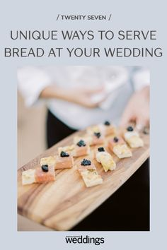 Bread makes for a great wedding appetizer as well as table decor. Your guests will appreciate the pre-dinner snack as well as the unique edible decoration appeal! Summer Wedding Guests, Wedding Reception Food, Wedding Tables, Wedding Menu, Festive Bread, Wooden Wine Crates, Tulip Wedding, Wedding Appetizers, Outdoor Wedding Photography