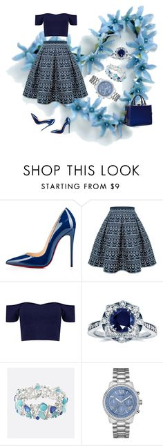 """""""linlovewithbluelikeforever"""" by ak1995 ❤ liked on Polyvore featuring beauty, Christian Louboutin, Rumour London, Kobelli, Avenue, GUESS and Dasein"""