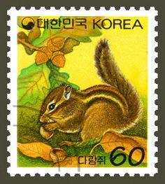 DEFINITIVE POSTAGE STAMP(60WON,200 WON), Squirrel, Animals, Green, Yellow…
