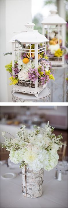 Floral Arrangements by Fleur de Di ~ Mix of blooms in white lanterns & white flowers in rolled birch sleeves / Elizabeth Anne Designs @ http://www.elizabethannedesigns.com/blog/2011/11/01/lavender-yellow-shabby-chic-wedding/