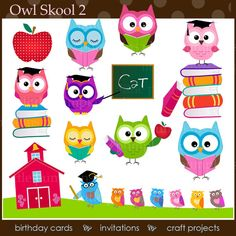 INSTANT DOWNLOAD - Owl Skool 2. Clip art for commercial and personal use. (PNG files). via Etsy
