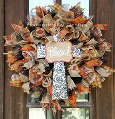 Door Wreath-Cross,Cross Wreath-Summer Wreath-Fall Wreath https://www.etsy.com/listing/239909934/front-door-wreath-cross-wreath-blessed