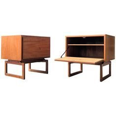 Arne Hovmand Olsen Pair of Teak Nightstands End Tables Cabinets