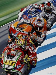 Champions by Colin Carter, Valentino Rossi, Casey Stoner, Jorge Lorenzo Scooter Bike, Moto Bike, Motorcycle Art, Bike Art, Course Moto, Motogp Race, Valentino Rossi 46, Racing Motorcycles, Cycling Art