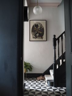 Hallway Makeover Before & After - How We Did It. — Gold is a Neutral stairs Hallway Makeover Before & After - How We Did It. Victorian Terrace Hallway, Edwardian Hallway, Victorian Stairs, Victorian Terrace Interior, Edwardian House, Black And White Hallway, Black And White Tiles, Dark Grey Hallway, Modern Hallway