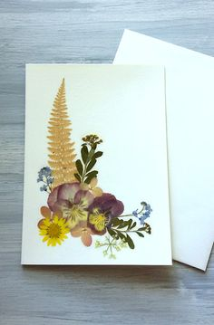 BOTANICAL GREETING CARD  Real Pressed Flowers Colorful