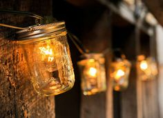Great idea for DIY mason jar string lights. Perfect for the backyard or a rustic wedding