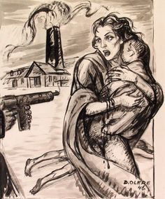 "David Olère (1902 – 1985, Polish-born French) ~ ""A Mother And A Child At The Barrel Of A Machine Gun"" ~ As a Jew, David Olère was deported to Auschwitz, where he was forced to work in the gas chambers and crematorium. His work, based on personal experience, has exceptional documentary value. Needless to say that, in their tragic cruelty, his drawings and paintings are highly explicit."