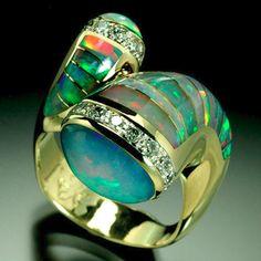 RANDY POLK DESIGNS: Australian and Brazilian opals, diamonds