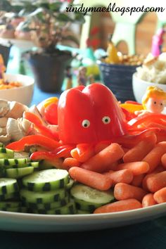 Bell pepper octopus for an Ariel and Friends Birthday Party