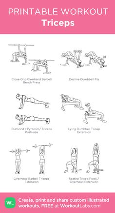 Triceps my visual workout created at WorkoutLabs Triceps Workout, Tricep Workout Women, Chest And Tricep Workout, Chest Workout Women, Gym Workout Plan For Women, Fitness Workout For Women, Shoulder Workout Women, Gym Workouts, At Home Workouts