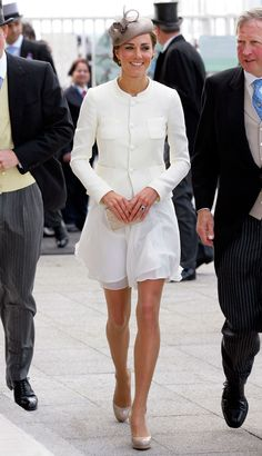 Hats off to a Reiss dress, Joseph jacket, and L.K. Bennett shoes and clutch, which she wore at the Derby Festival at Epsom Downs Racecourse.   - HarpersBAZAAR.com