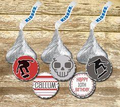 Hershey Kisses Labels - Boy Birthday Stickers, Hershey Kisses Skateboard, Hershey Kisses Boy, Birthday Stickers Boy, Skateboard Silhouette by LittlePrintsOttawa on Etsy