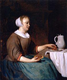 A Woman Eating, by Gabriel Metsu (Dutch, 1629-1667)