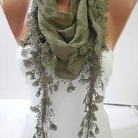 Green Shawl / Scarf - Headband - Cowl with  Lace Edge