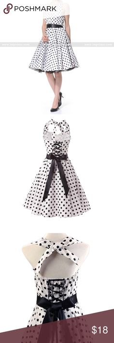 B/W polka-dot halter swing dress A lovely swing dress with a class polka dot pattern that's perfect when going out to a 50s themed occasion! This halter dress has a full 360 skirt and a beautiful corset style back along with a black ribbon sash you can tie around your waist (This size's measurements is highlighted for easy reading) Imprinte Dresses Midi