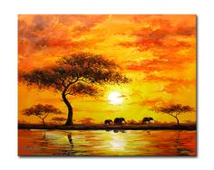 African Sunset Paintings | Other Artwork - MODERN LANDSCAPE PAINTING AFRICAN SUNSET 80 X 100 CM ...