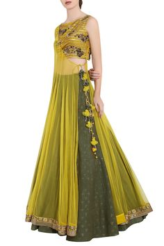 Buy Yellow & green soft net sequin & ari technique crop top & skirt with angrakha long jacket by Vedangi Agarwal at Aza Fashions Punjabi Suit Neck Designs, Pakistani Dress Design, Kurti Designs Party Wear, Lehenga Designs, Indian Wedding Outfits, Indian Outfits, Indian Designer Outfits, Designer Dresses, Long Green Skirt