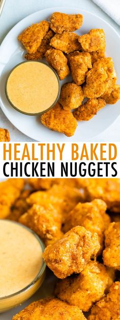 These healthy baked chicken nuggets are coated in a crispy almond flour breading and baked instead of fried. And you only need 8 ingredients! // 339 cal, F, C, P Healthy Breaded Chicken, Healthy Chicken Nuggets, Chicken Bites, Chicken Eating, Fried Chicken, Chicken Nugget Recipes Baked, Healthy Chicken Recipes, Cooking Recipes, Skillet Recipes