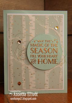 A magical season card using the awesome Woodland embossing folder with the Winter Wonderland Vellum stack   Details here: http://aestamps2.blogspot.com/2015/10/magical-season.html  happy stamping!  Annette