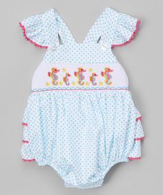 Look at this #zulilyfind! Turquoise Dot Seahorse Ruffle Bubble Romper - Infant #zulilyfinds