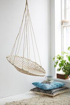 """<ul> <li>Curl up in this woven hanging chair. Circular macramé silhouette with a looped top hang it from a sturdy hook indoors or out. Hardware not included.</li> <li>Content + Care</li> <li>Iron, cotton</li> <li>Wipe clean</li> <li>Imported</li> <li>Size</li> <li>Holds up to 200 lbs</li> <li>Dimensions: 30""""l x 42""""h</li> <li>Hanging height: 50""""<"""