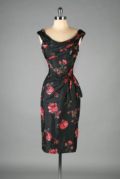 1950's Ceil Chapman Black Red Silk Floral Bombshell Dress
