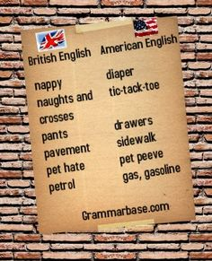 The main differences in vocabulary between British and American English.