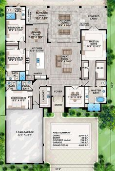 Coastal Florida Mediterranean House Plan 52919 Level One