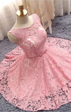 pink homecoming dress,short prom dress,elegant party dress,lace homecoming