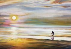 Along the shore.  Oil on Canvas.  The cyclist is moving along the water's edge on the seashore towards the setting sun.