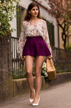Light Floral Longsleeve Top w/ Plum-colored High-waist Skirt, White Heels, Tan Purse