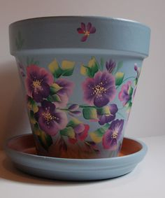 Hand Painted clay flower pot Purple / Pink blossoms, flowers, leaves design One Stroke style