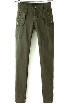 Zipper Pockets Green Pant 16.67